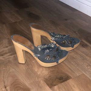 Denim Wooden heels